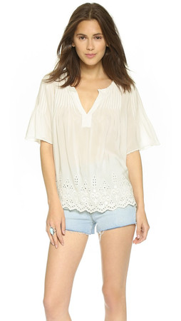 Club Monaco Rainey Silk Top - Blanc De Blanc