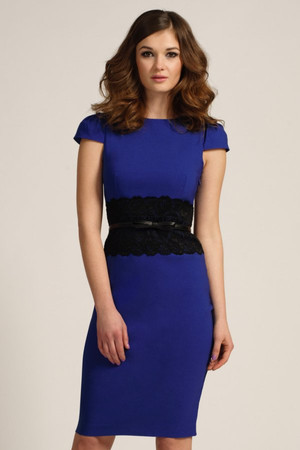 Cobalt Cap Sleeve Black Lace Panel Bodycon Dress