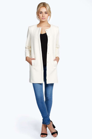 Collarless Button Duster Coat cream