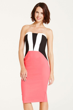Coral, Black and White Stripe Front Dress
