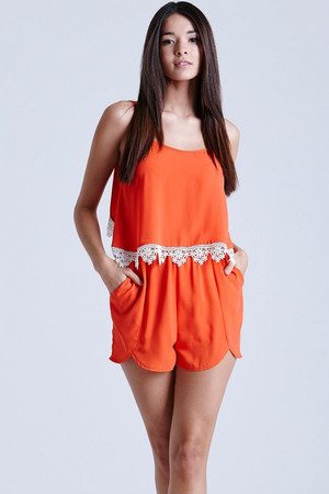 Coral Chiffon Playsuit