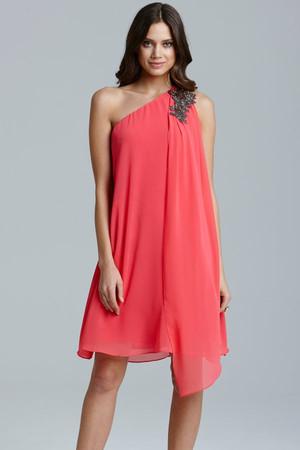 Coral One Shoulder Drape Dress