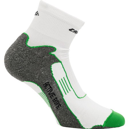 Craft Active Bike Socks - 37-39 White/Green | Cycle Socks