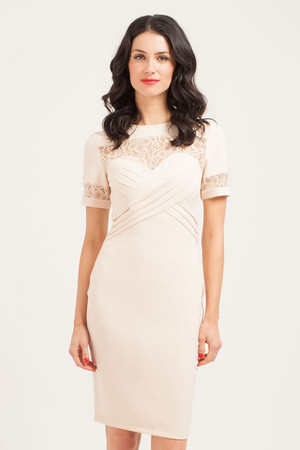 Cream Pleated Front Lace Detail Bodycon Dress