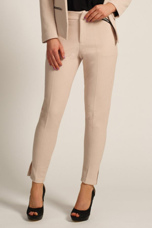 Cream Textured Zip Detail Tapered Trousers