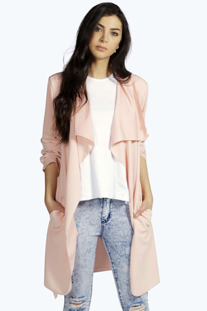 Crepe Belted Waterfall Duster nude