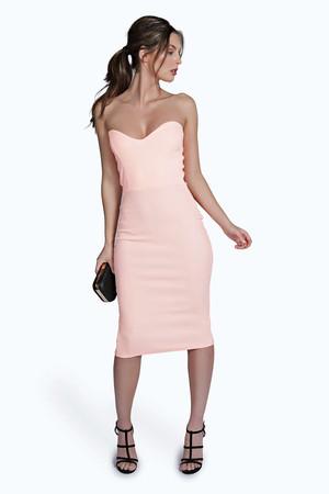 Crepe Neon Bandeau Bodycon Dress peach