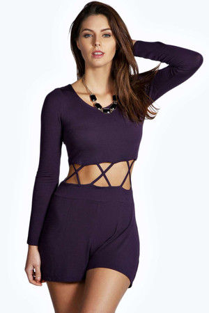 Criss Cross Cut Out Long Sleeve Playsuit aubergine