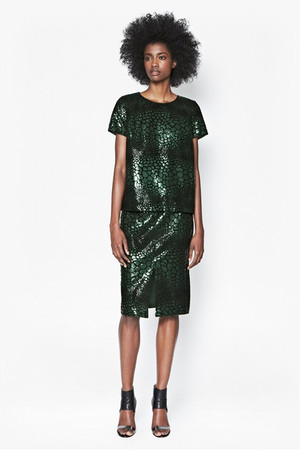 Croc Flock Textured Pencil Skirt - Green