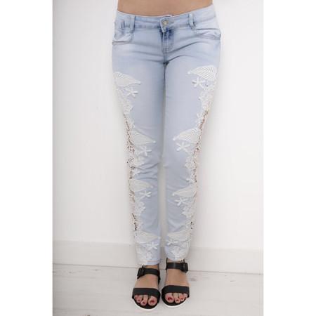 Crochet Side Cut-out Skinny Jeans in Light Denim