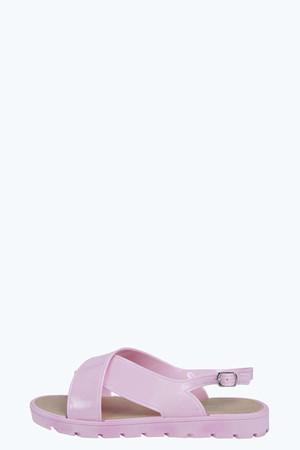 Cross Strap Jelly Sandal - pink