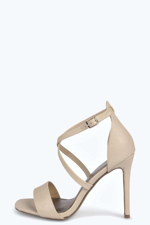 Cross Strap Two Part Heels - nude