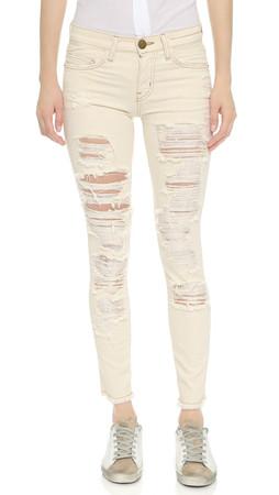 Current/Elliott The Stiletto Jeans With Raw Edges - Au Natural Destroy