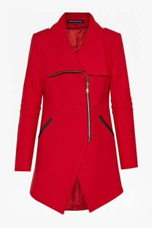 Cut Away Wool Coat - Royal Scarlett