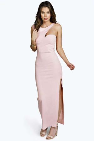 Cutaway Shoulder Maxi Dress dusky pink