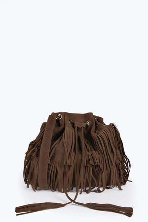 Daisy Suedette Fringed Duffle Bag tan