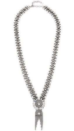 Dannijo Anabel Necklace - Clear/Silver Ox
