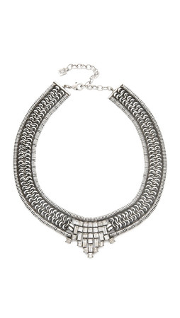 Dannijo Azita Necklace - Clear/Ox Silver