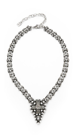 Dannijo Deanna Necklace - Clear/Ox Silver