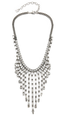 Dannijo Hallsy Necklace - Clear/Silver Ox