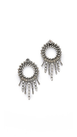 Dannijo Linda Earrings - Clear/Silver Ox