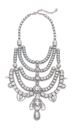Dannijo Margaux Necklace - Clear/Ox Silver