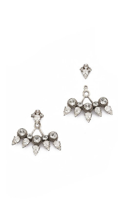 Dannijo Schiffer Earrings - Clear/Silver Ox