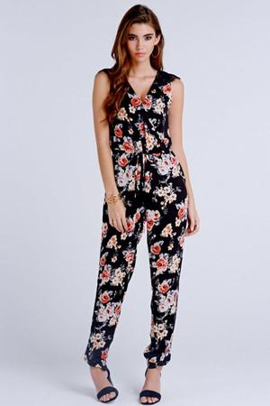 Dark Floral Print jumpsuit