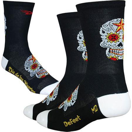 DeFeet Aireator Tall Sugarskull Socks - Extra Large Black/White