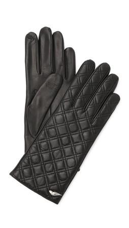 Diane Von Furstenberg Caning Quilted Leather Gloves - Black