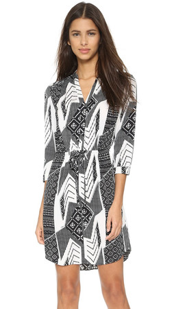 Diane Von Furstenberg Freya Dress - Ethnic Collage Black