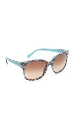 Diane Von Furstenberg Julianna Sunglasses - Teal Animal/Brown