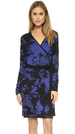 Diane Von Furstenberg Leandra Wrap Sweater Dress - Floral Daze Large Blue