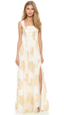 Diane Von Furstenberg Lillie Maxi Dress - Ivory/Gold