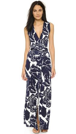 Diane Von Furstenberg New Yahzi Silk Maxi Dress - Giant Floral Solid Midnight