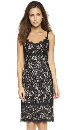 Diane Von Furstenberg Olivia Lace Dress - Black/Nude