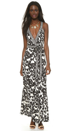Diane Von Furstenberg Samson Wrap Maxi Dress - Eden Garden Black/Greek Bands