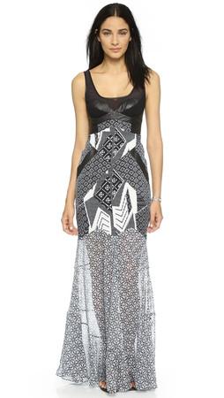 Diane Von Furstenberg Serena Maxi Dress - Black/Ethnic Collage Black