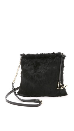 Diane Von Furstenberg Voyage Fur Cross Body Bag - Black