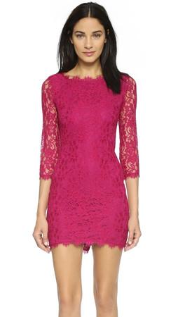 Diane Von Furstenberg Zarita Lace Dress - Raspberry Coulis