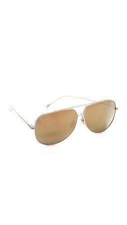 Dita Condor Mirrored Aviator Sunglasses - White Gold/Gold Mirror