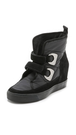 Dkny Chamoix Wedge Booties - Black