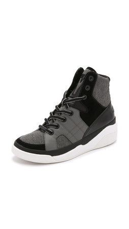 Dkny Chrystie High Top Sneakers - Dark Grey/Black