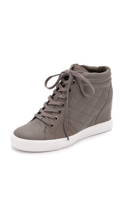Dkny Cindy Quilted Wedge Sneakers - Dark Desert