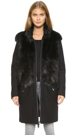 Dkny Coat With Faux Fur Trim - Black