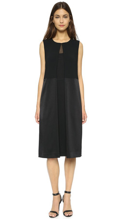 Dkny Dress With Front Pleat - Black