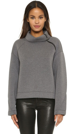 Dkny Extra Long Sleeve Turtleneck Pullover - Heather Grey