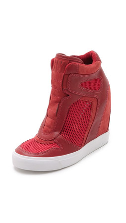 Dkny Grand Wedge Sneakers - Brick Red/Bright Flame