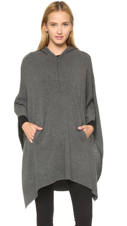 Dkny Hooded Poncho - Steel Heather