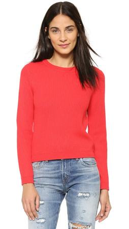 Dkny Long Sleeve Ribbed Cropped Pullover - Flirt